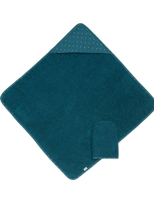 المنشفة ذات غطاء الرأس والقفاز - أزرق مائل للخضرة image number 1