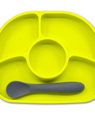 BBLuv Yumi Anti-Spill Silicone Plate & Spoon Set