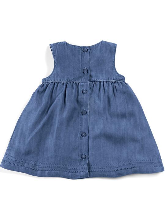 فستان بطيات دقيقة - أزرق image number 5