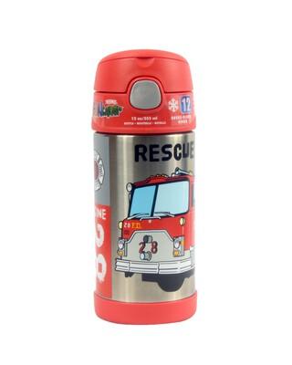 زجاجة مياه فانتينر ستانلس ستيل 355 ملل بنقشة شاحنة إطفاء- ثيرموس
