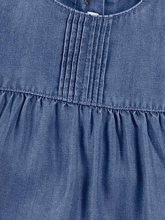فستان بطيات دقيقة - أزرق image number 6