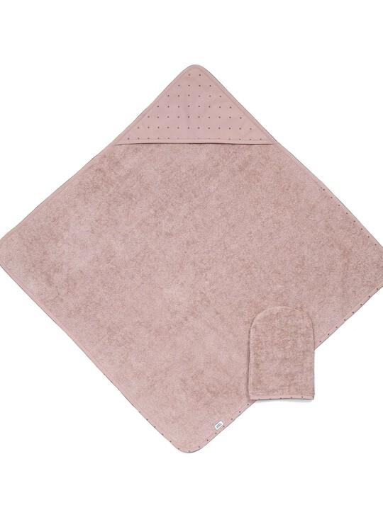 المنشفة ذات غطاء الرأس والقفاز - وردي image number 1