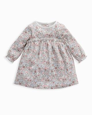 Pink Long Sleeve Floral Print Dress