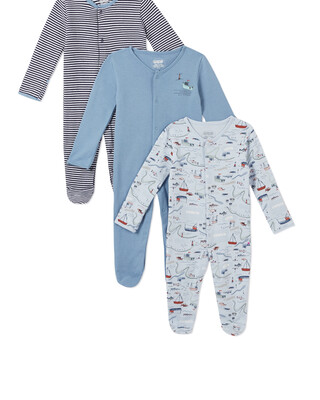 3Pack of  NAUTICAL Sleepsuits