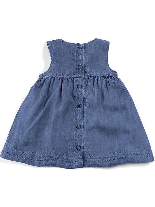 فستان بطيات دقيقة - أزرق image number 7