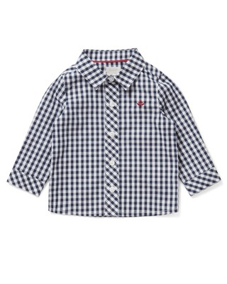 قميص بنقشة مربعات كحلي