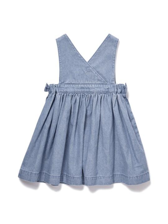 فستان شامبراي بتصميم مريلة image number 2