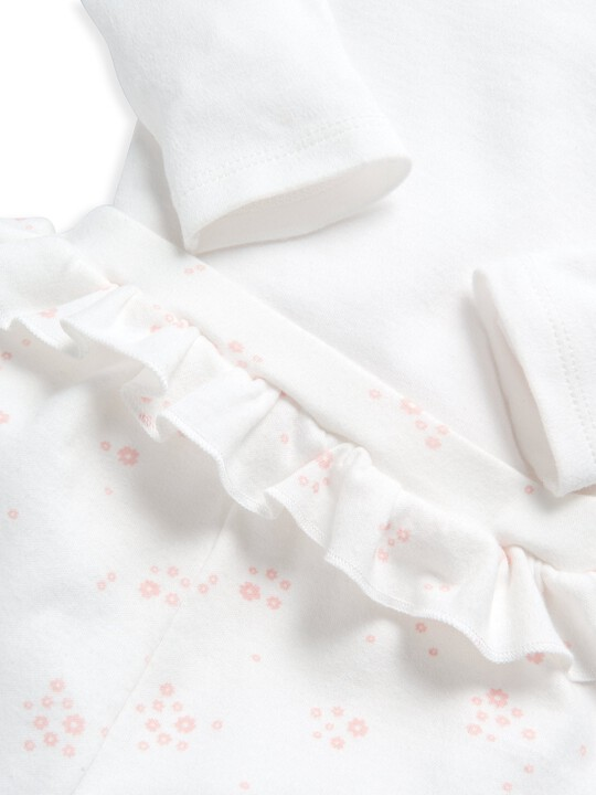طقم لباس قطعة واحدة ولغينغز بنقشة زهور - قطعتان image number 8