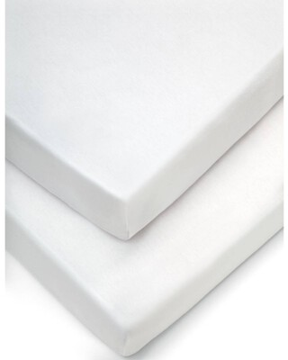 شرشف موسى بحواف مطاطية (عبوة من قطعتين) - أبيض