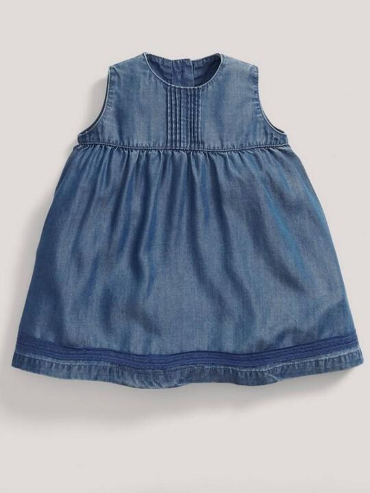 فستان بطيات دقيقة - أزرق image number 3